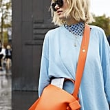 Even with head-to-toe color, there's room to play with a little bit more by way of handbags, shoes, and accessories.