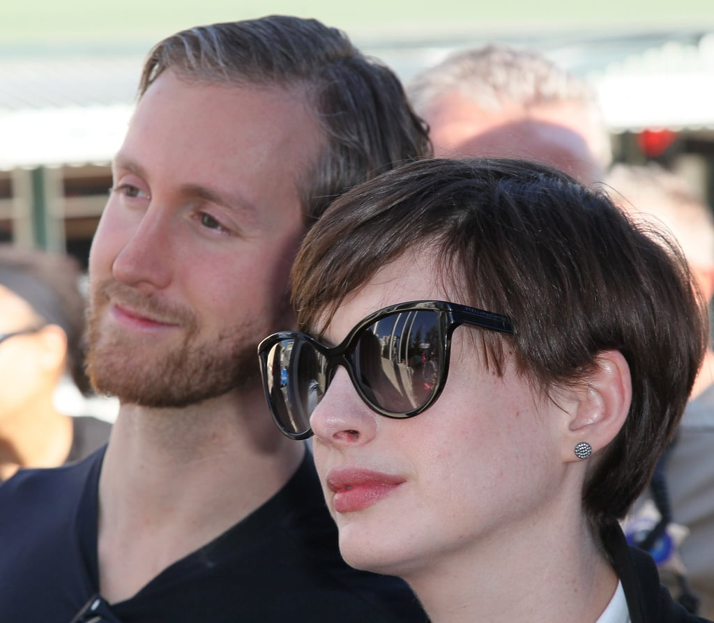 Anne Hathaway and Adam Shulman spend their Valentine's Day standing up for women's rights in Hollywood at the One Billion Rising event.