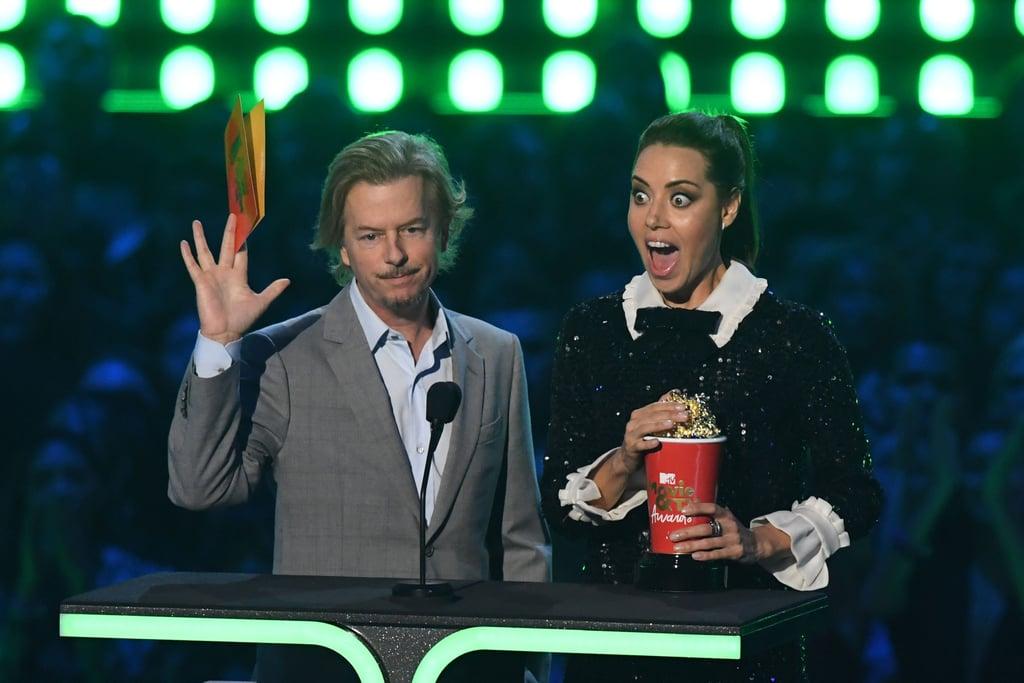 David Spade and Aubrey Plaza at the 2019 MTV Movie and TV Awards