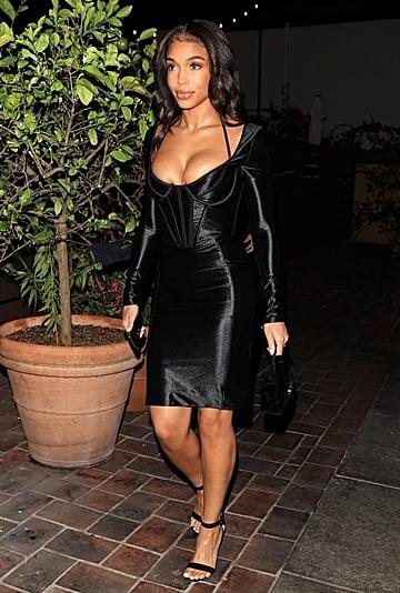 Lori Harvey Wears a Sexy Satin Corset Dress by House of CB