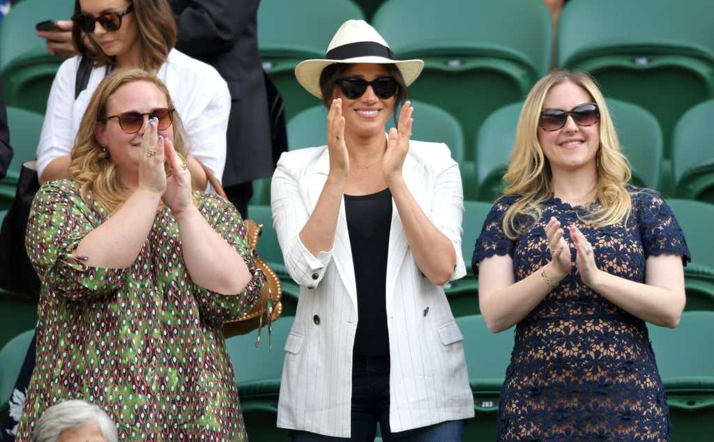 Meghan Markle has taken a short and well-deserved break from being a new mom to 1-month-old Archie for a day trip to Wimbledon. On Thursday, the Duchess of Sussex attended the annual tennis tournament in London with friends Lindsay Roth and Genevieve Hillis, wearing a white blazer and jeans with a matching hat. She was seen smiling and laughing as she cheered on her other close pal Serena Williams from the stands. Last year when Meghan attended Wimbledon with Kate Middleton, the duchess got teary-eyed as she watched Serena speak after her match with Angelique Kerber. With all this tennis love, we wonder whether little Archie will follow in the family's footsteps and be an enthusiast of the sport. Prince William is even trying to convince George and Charlotte to take up tennis as a hobby (now that would make for some cute lessons).      Related:                                                                                                           Meghan Markle May Be Royalty Now, but She Isn't Afraid to Work Up a Sweat and Play Sports