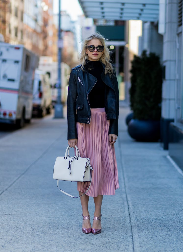 How To Wear A Pleated Midi Skirt Outfit Ideas Popsugar