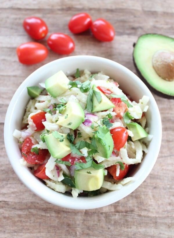 Spiralized Jicama and Avocado Salad