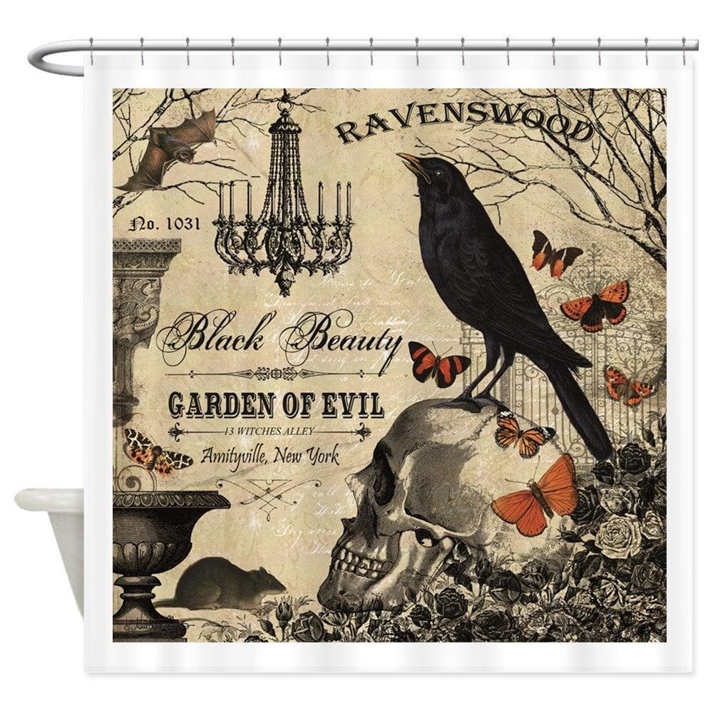 Modern Vintage Halloween Decorative Fabric Shower Curtain