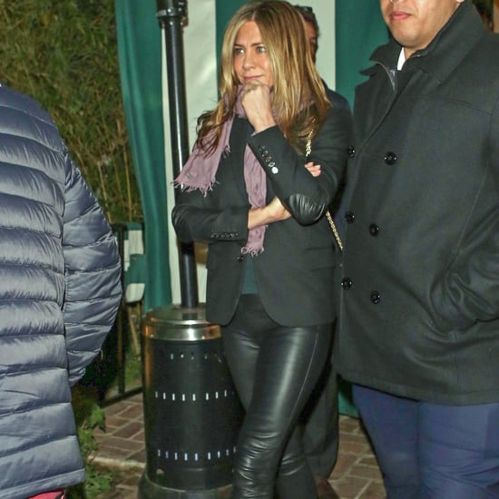 Jennifer Aniston Styles Leather Pants With Platform Oxfords