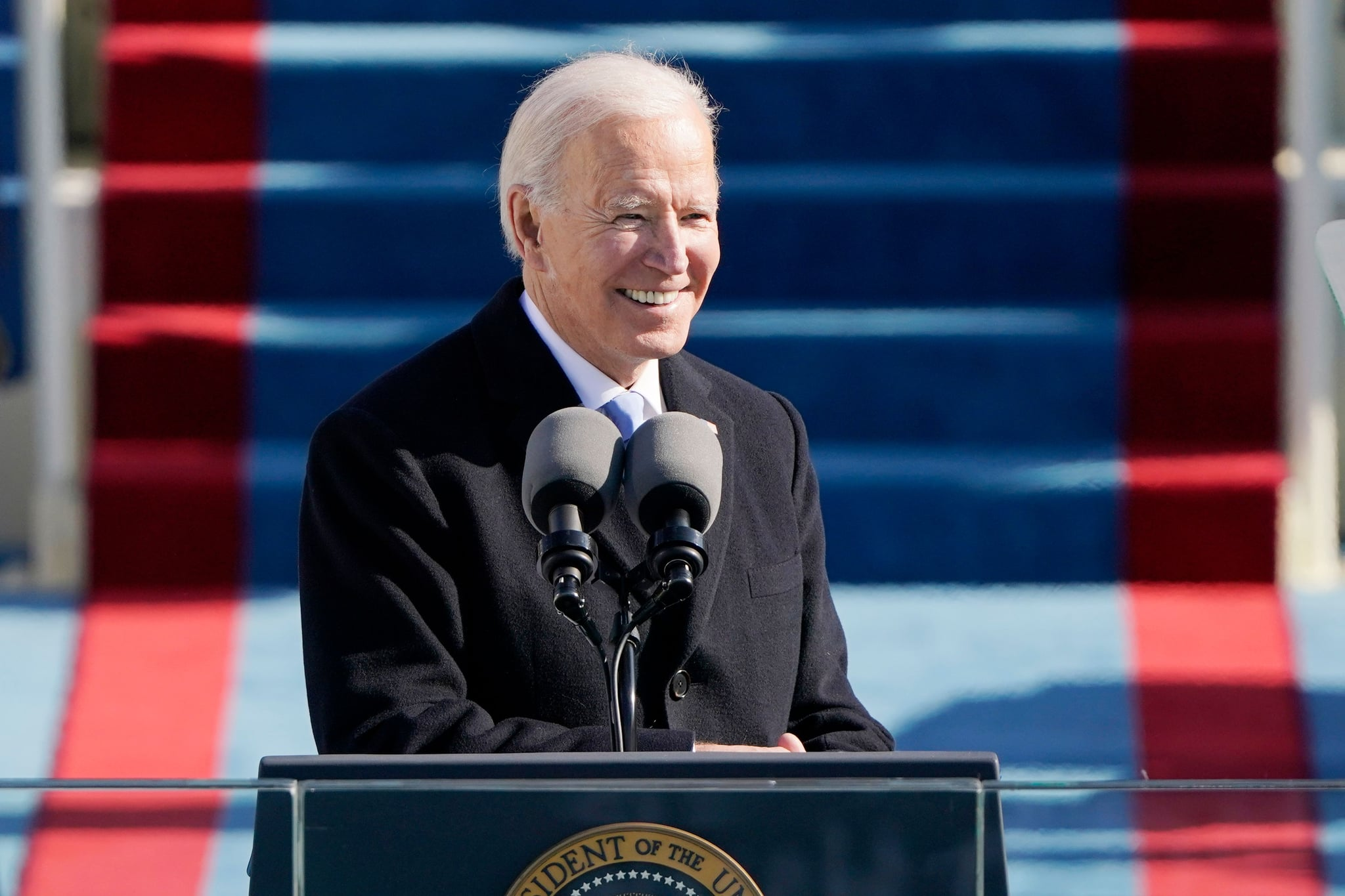 TOPSHOT - US President Joe Biden delivers his Inauguration speech after being sworn in as the 46th US President on January 20, 2021, at the US Capitol in Washington, DC. (Photo by Patrick Semansky / POOL / AFP) (Photo by PATRICK SEMANSKY/POOL/AFP via Getty Images)