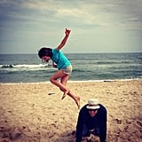Ed Burns played a little leapfrog on the beach with his daughter, Grace. Source: Instagram user cturlington