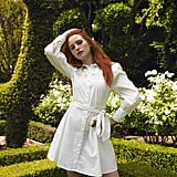 Shein x Madelaine Guipure Lace Insert Self Belted Shirt Dress