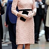 Kate wore this pink Orla Kiely dress to the Charities Forum Event at Paddington Station in October 2017. She accessorized with Tod's black suede pumps and her trusty Mulberry clutch.