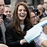 Kate cheered on Prince William and Harry during the London Marathon in April.