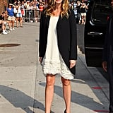 Julia's blazer style was still going strong all the way back in June 2011, when she added edge to a feminine ivory dress and pumps in NYC.