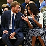 When Harry visited the US in 2015 to promote his Invictus Games , he once again met with the former first lady — this time in Virginia.