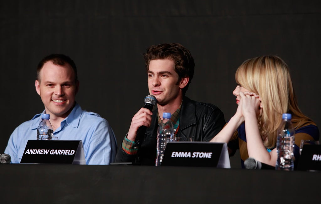 Emma Stone, Andrew Garfield, and Marc Webb spoke together at a press conference for The Amazing Spider-Man in Seoul.