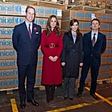 Mary and Frederik met with Prince William and Kate Middleton when the British royals visited the UNICEF Global Supply Centre in Copenhagen in Nov. 2011.