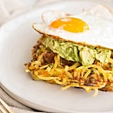 Potato Chive Waffles With Avocado Mash and Fried Egg