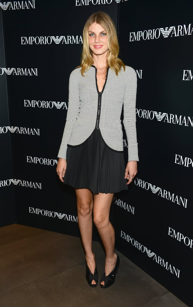 Angela Lindvall kept it simple in a gray blazer and slinky LBD at the Emporio Armani flagship opening.