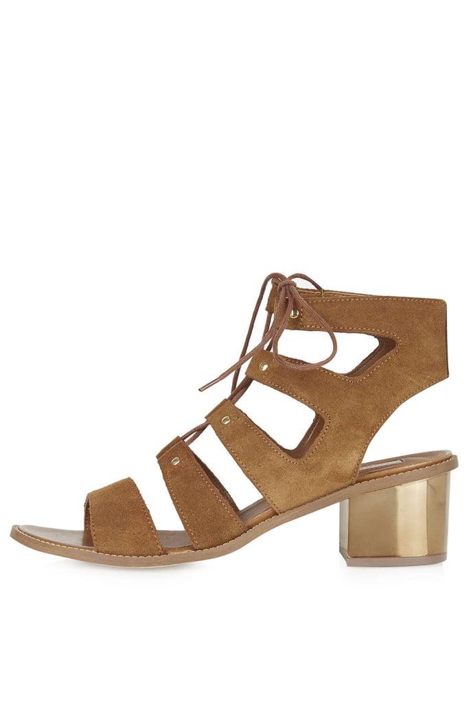 Topshop Nugget Bronze Heel Sandals ($90)
