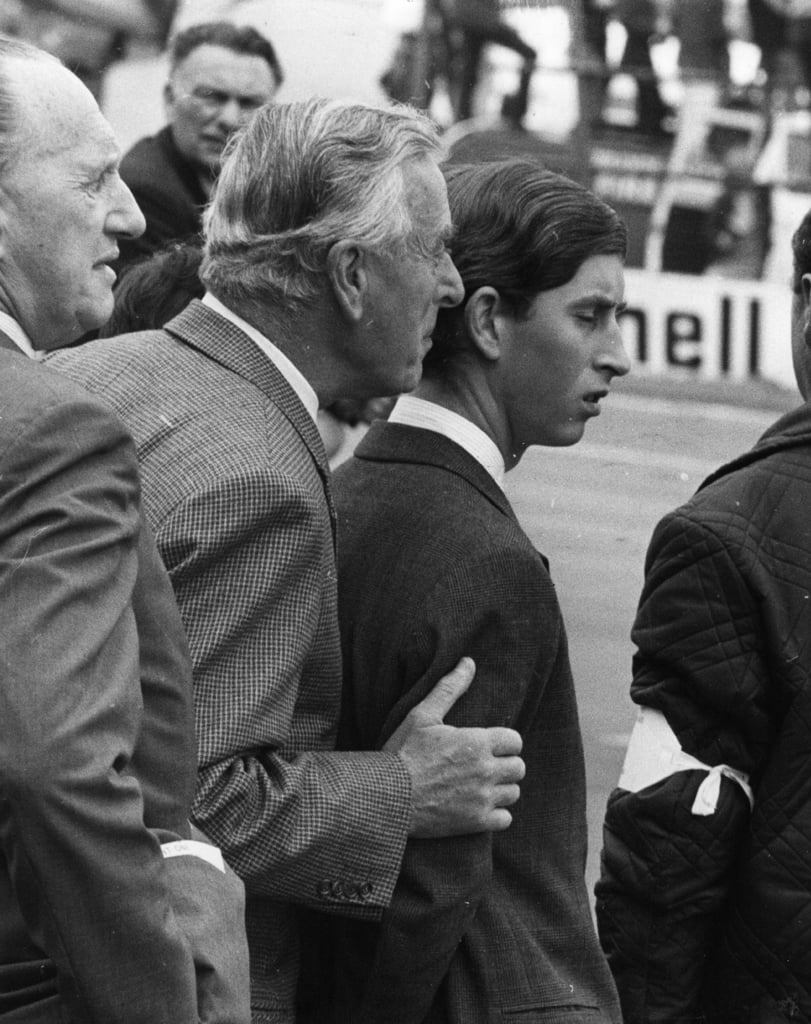 Prince Charles and Lord Mountbatten at a Grand Prix in 1968