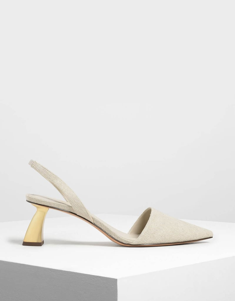 Charles & Keith Taupe Linen Sculptural Heel Slingback Pumps