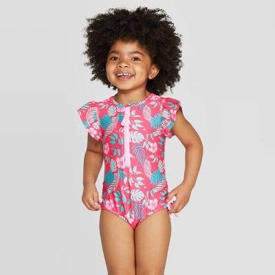 Toddler Girls' Short Sleeve Hawaiian One Piece Swimsuit