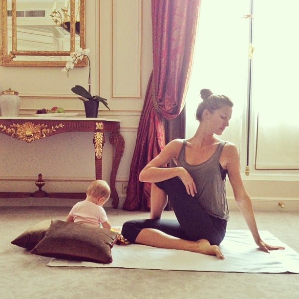 "Gisele Bündchen shared a sweet photo while practicing yoga with her ""little partner,"" baby daughter Vivian. Source: Instagram user giseleofficial"