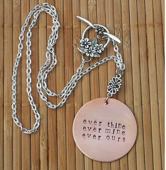 Ever Thine Ever Mine Ever Ours Hand-Stamped Copper Necklace