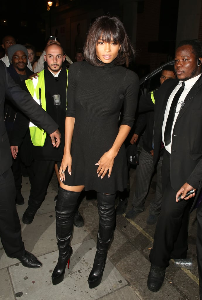 A Black Sweater Dress And Over The Knee Boots Ciara Celebrity
