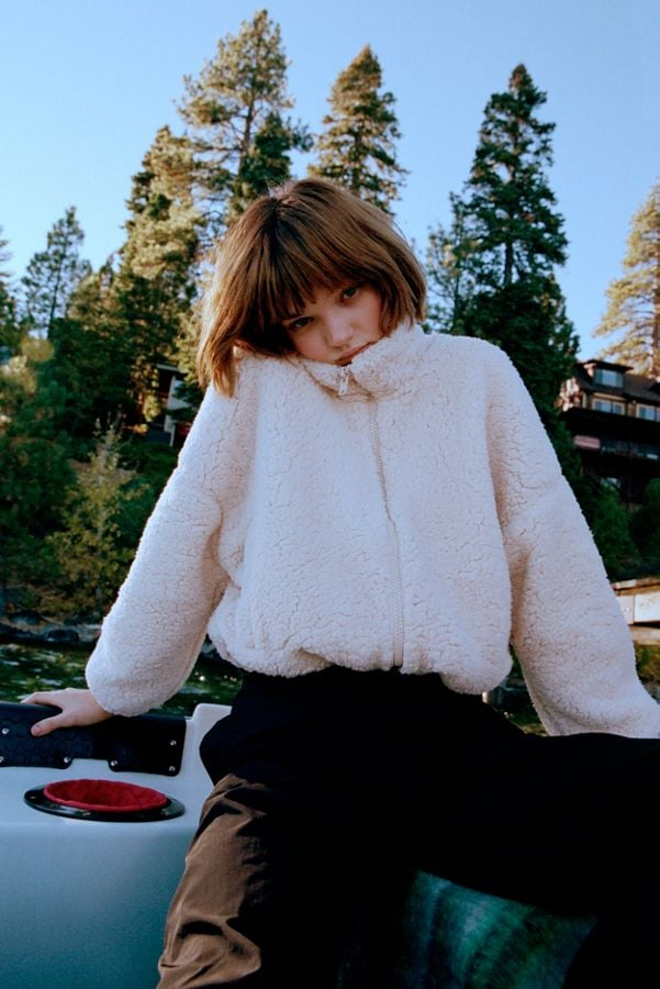 Uo Willow Fuzzy Drawstring Teddy Jacket Best Gifts For College
