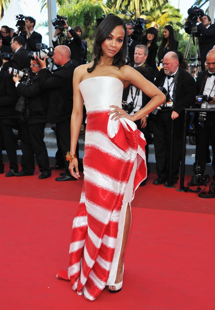 Zoe rocked this striped Armani Privé gown at the 2011 Cannes Film Festival.