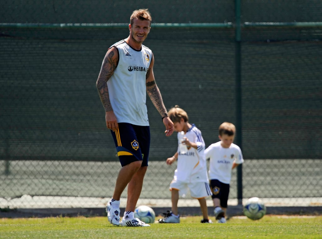 In July 2009, David Beckham kicked the ball around in LA with Romeo and Cruz.