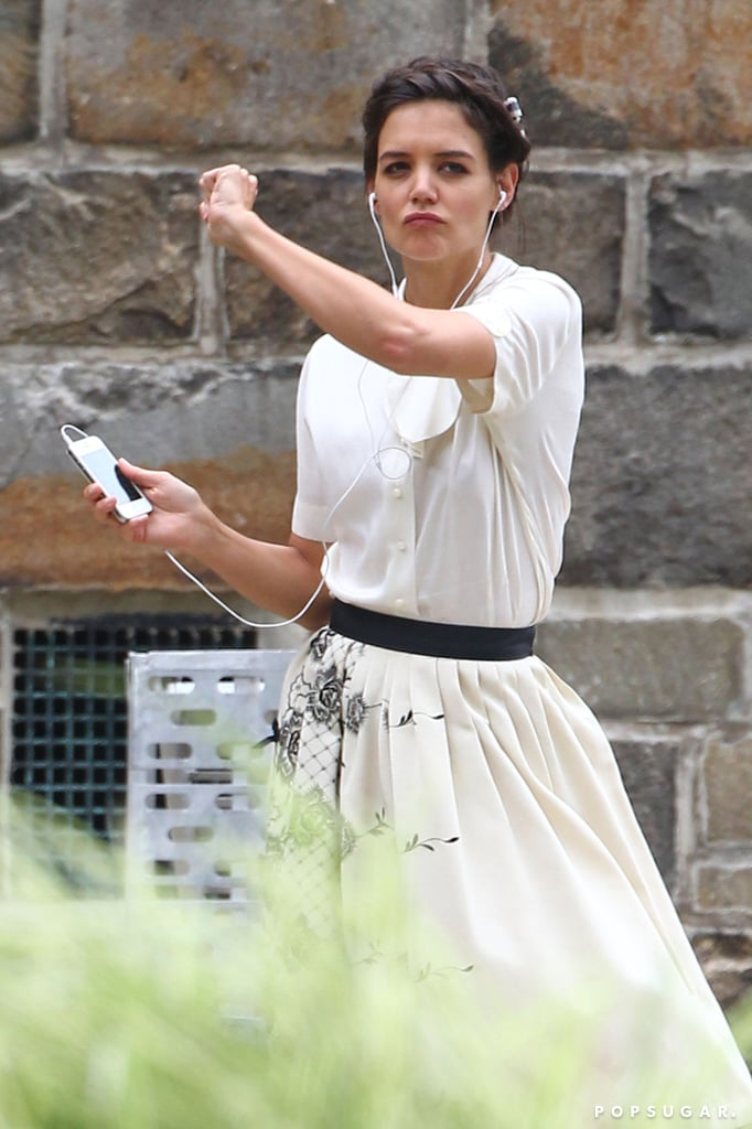 Katie Holmes showed off her dance moves while in costume for her new film, Miss Meadows.
