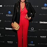 Rachel Roy stepped out in a graphic color combo for Elysium in NYC.
