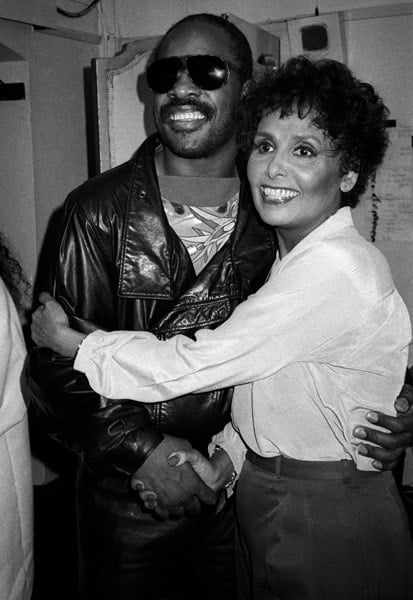 Hugging Stevie Wonder in 1984.