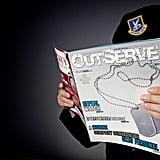 An anonymous gay member of the Air Force reads a copy of OutServe, a publication for actively serving lesbian, gay, bisexual, and transgender US military members.