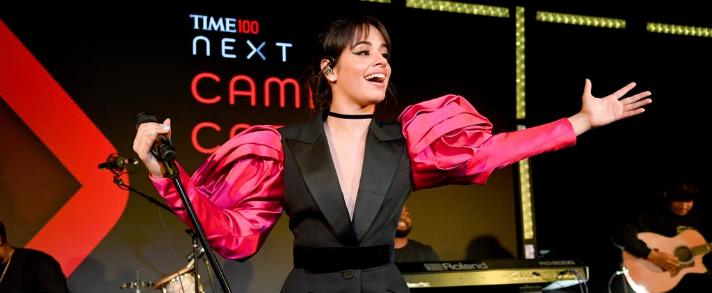 Camila Cabello's Romantic Rose Sleeve Suit Dress Photos