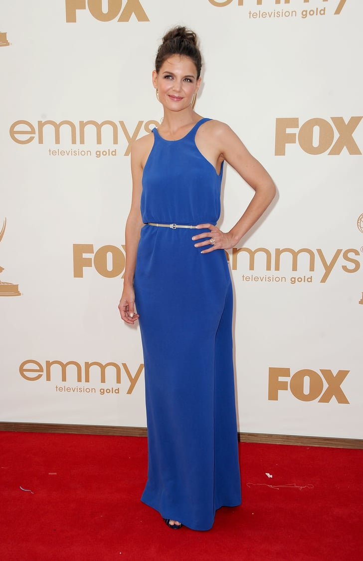 Katie Holmes Picks Blue Calvin Klein on the Emmys Red Carpet