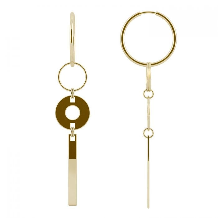 Charles & Colvard Ouro Edition Geo Hoop Drop Earrings in 14K Yellow Gold