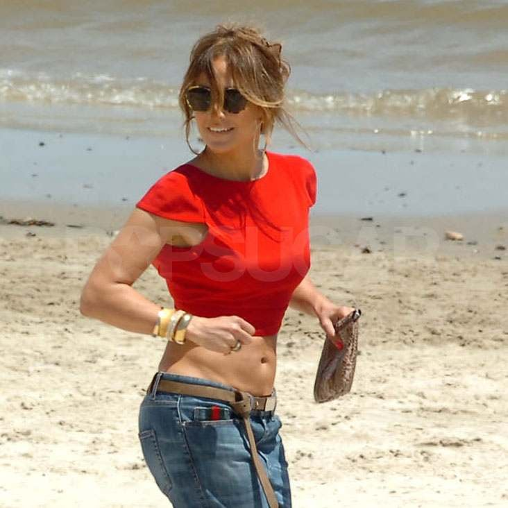 Jennifer Lopez in a crop top.