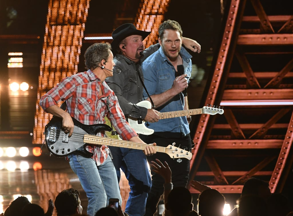 "Chris Pratt channeled his inner country star for a moment when he joined Garth Brooks on stage at the iHeartRadio Music Awards on Thursday. First, Pratt presented Brooks with the iHeartRadio artist of the decade award, and he shared a funny story about the first time the two met. ""I said, 'Garth, you ever need a lead man to play you in a movie, I can make that happen,"" Pratt explained. ""True story: he looked me square in the eyes, and he said, 'Really? You know Bradley Cooper?'"" Following Pratt's introduction, Brooks hit the stage to perform a medley of some of his greatest hits. A couple of songs in, Pratt surprised the crowd when he joined the country star on stage, microphone in hand, to sing a few notes himself. The moment meant a lot to Pratt, who later posted about the night on Instagram, writing, ""Welp. I guess I died and gone to heaven. Thank you @garthbrooks and congratulations on the artist of the decade award. It was an honor to sing with you and the band on stage. I can't wait for the upcoming stadium tour. God is so good. Thank you thank you thank you."" He also shared a video of himself hanging out with Brooks and the band backstage, writing, ""A moment I will never forget."" Keep reading for a look at Garth Brooks and Chris Pratt's fun night.      Related:                                                                                                           Taylor Swift Subtly Teases New Music in iHeartRadio Awards Speech — What Does It Mean?!"