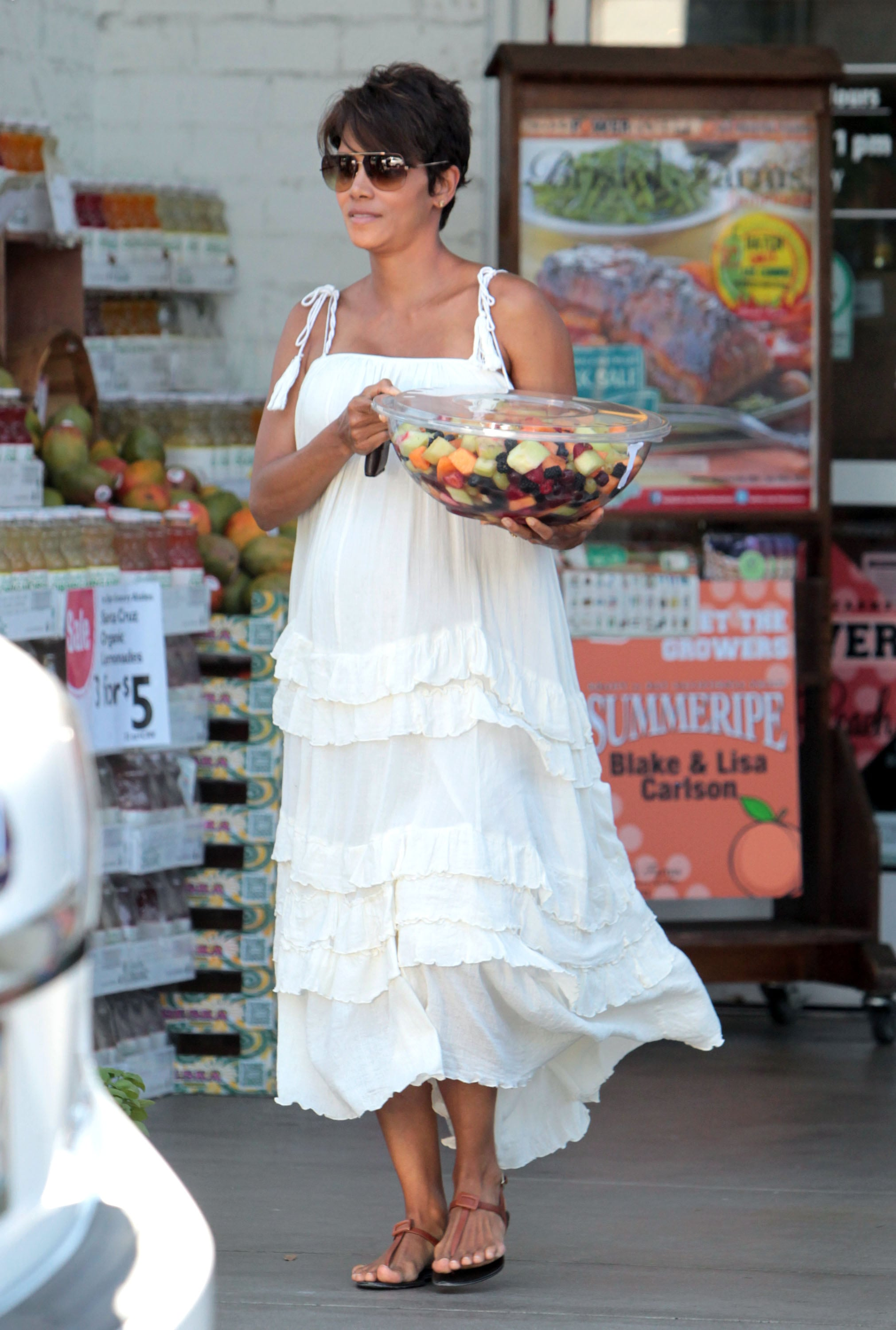Halle Berry showed off her baby bump in LA.