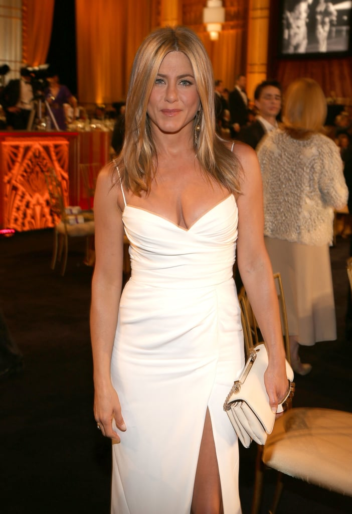 Jennifer Aniston showed off a white Burberry gown at an AFI gala in LA.