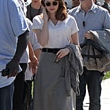 Emma Stone brushed her hair out of her face before filming a scene for The Gangster Squad.