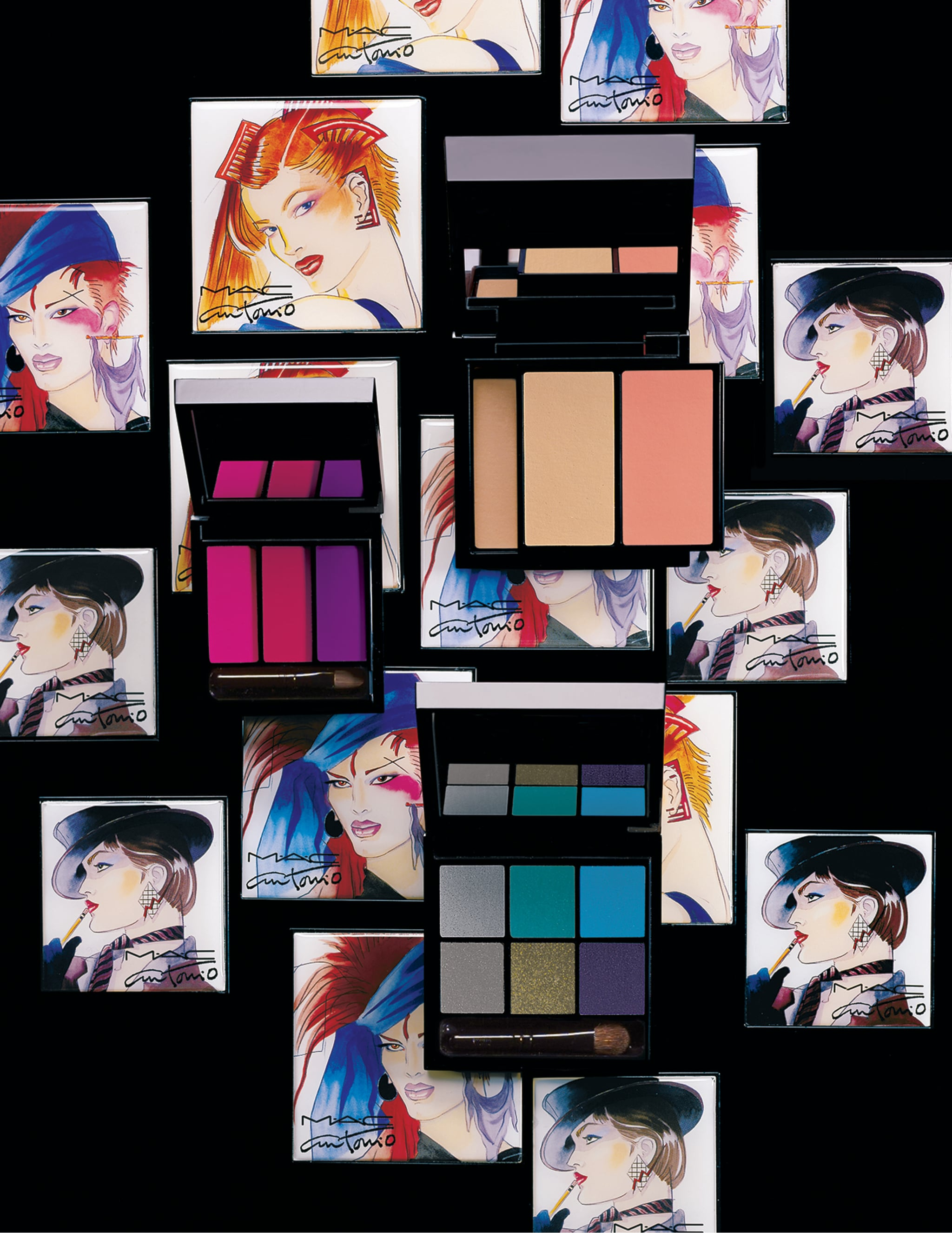 MAC Cosmetics has created a makeup line for Fall ($25-$55) inspired by the illustrations of Antonio Lopez. Available from now through October, the items are emblazoned with the designs of the famed artist.