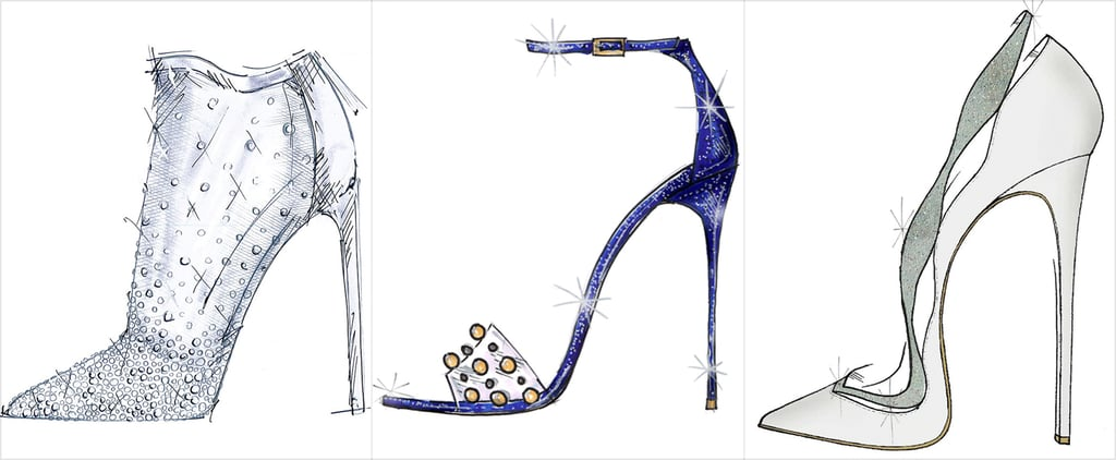 Shoe Designers Sketch Cinderella Glass Slipper