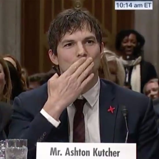 Ashton Kutcher Blowing a Kiss to John McCain February 2017