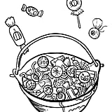 Get the coloring page: candy basket