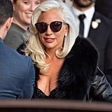 Lady Gaga Arrived Wearing a Fuzzy Black Coat