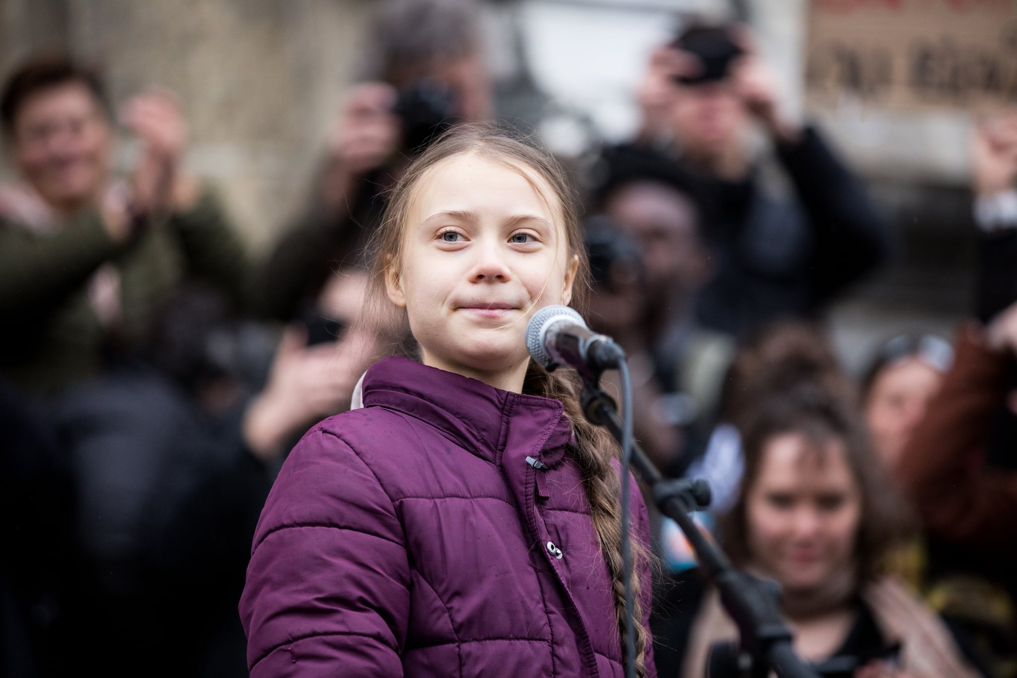 LAUSANNE, SWITZERLAND - JANUARY 17: Swedish climate activist Greta Thunberg speaks to participants at a climate change protest on January 17, 2020 in Lausanne, Switzerland. The protest is taking place ahead of the upcoming annual gathering of world leaders at the Davos World Economic Forum. (Photo by Ronald Patrick/Getty Images)