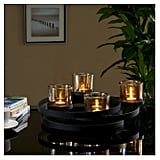 Circles Metal Centerpiece with Iridescent Glass Cups Black