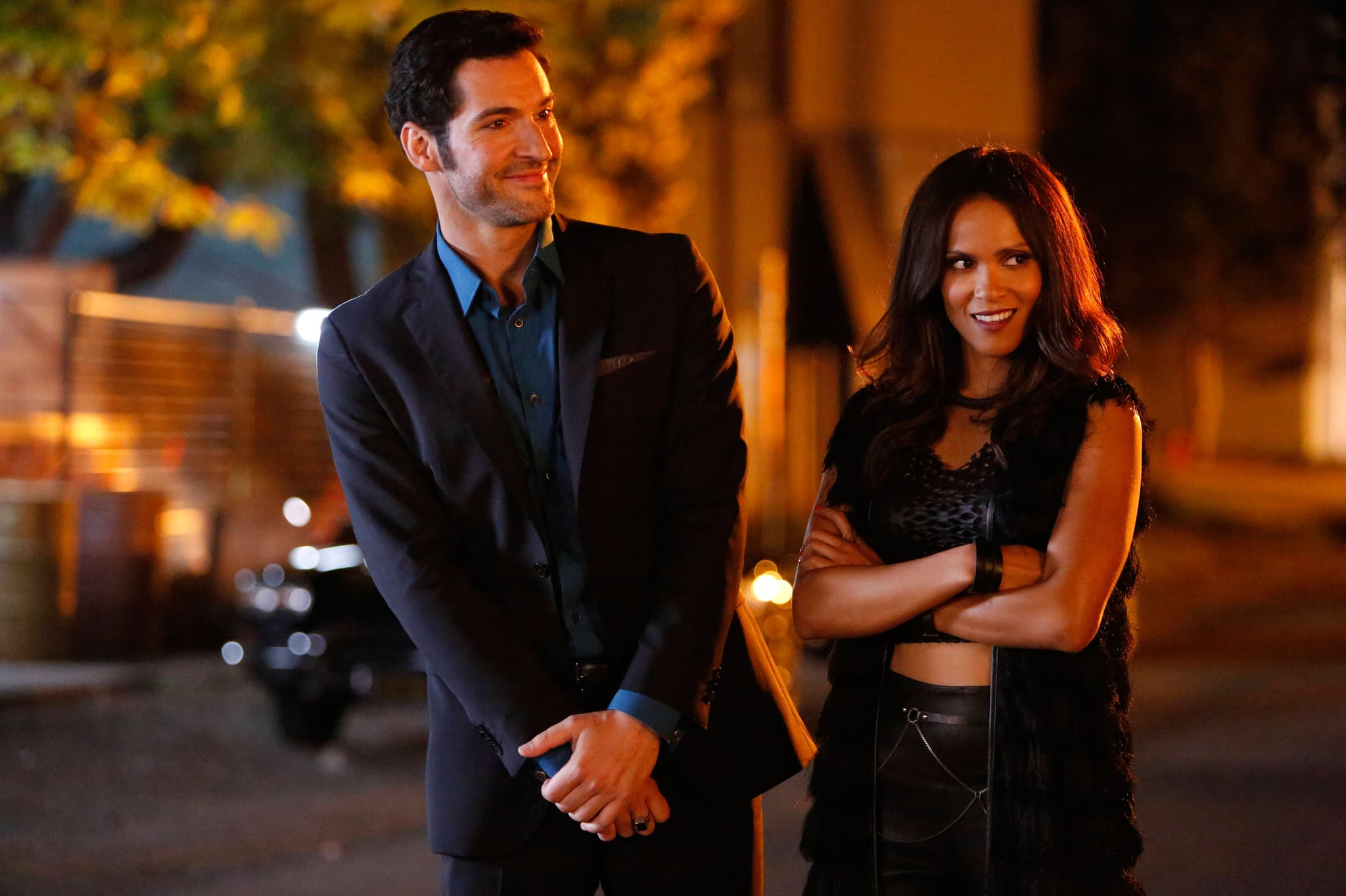 LUCIFER, l-r: Tom Ellis, Lesley-Ann Brandt in 'Lucifer, Stay, Good Devil' (Season 1, Episode 2, aired February 1, 2016). ph: Bettina Strauss/Fox/courtesy Everett Collection